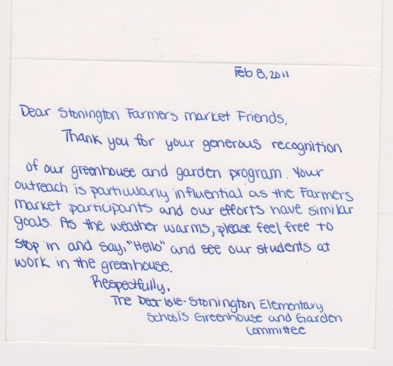 Thank You Letter To Market Vendors | Stonington Farmers Market