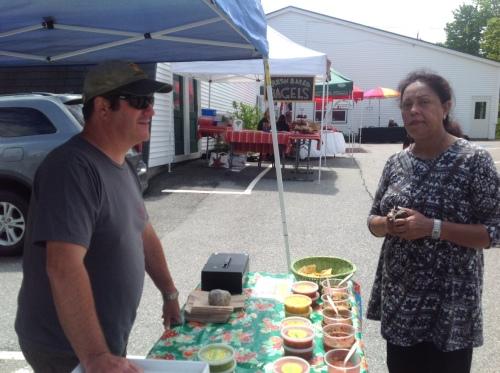 Sampling the mango salsa at El El Frijoles