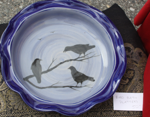 Mowery Handcrafts ceramic platter can be used as a birdbath or a serving dish.
